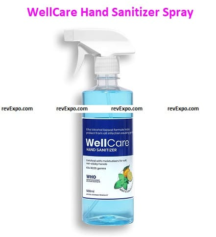 WellCare Hand Sanitizer Spray, 500ml | Mint & Lemon | WHO Recommended 80% Alcohol
