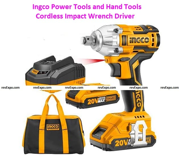 Ingco Power Tools and Hand Tools Cordless Impact Wrench Driver with 2 Pieces 20v Battery and 1 Charger of Size 1/2-Inch (Yellow and Black)