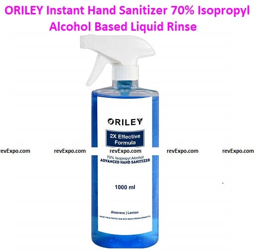 ORILEY Instant Hand Sanitizer 70% Isopropyl Alcohol Based Liquid Rinse-free Non-Sticky Skin-Friendly Germ Protection Palm Handrub