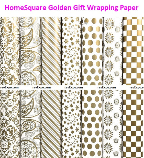 HomeSquare Golden Gift Wrapping Paper