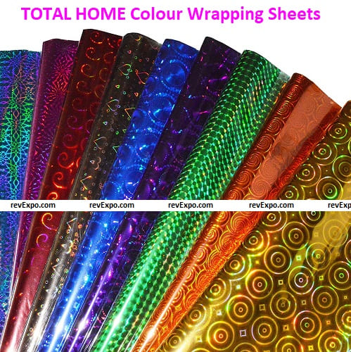 TOTAL HOME Plastic Metallic Colour Wrapping Sheets