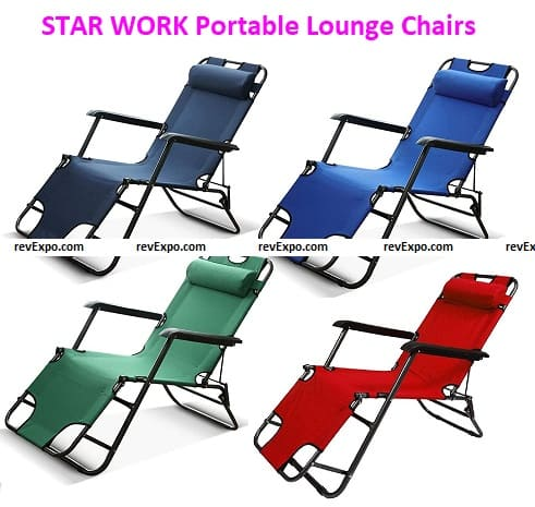 STAR WORK Folding Reclining Portable Lounge Chairs