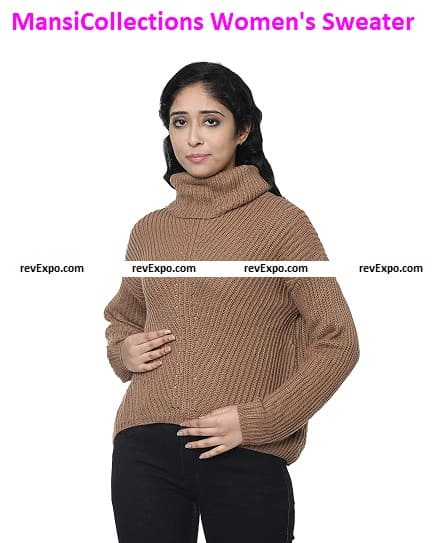 MansiCollections Women's Acrylic Cable Brown Sweater
