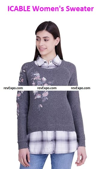 ICABLE Women's Collared Neck Sweater