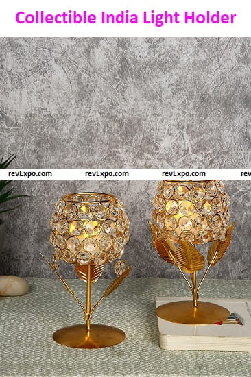 Collectible India Metal & Crystal Tea Light Candle Holder Stand
