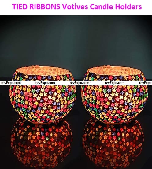 TIED RIBBONS Mosaic Glass Votives Tealight Candle Holders
