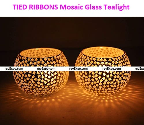 TIED RIBBONS Mosaic Glass Tealight Candle Holders