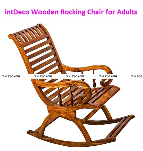 intDeco Wooden Rocking Chair for Adults