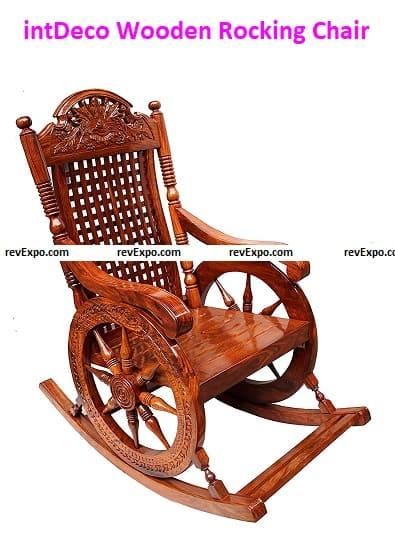 intDeco Wooden Rocking Chair