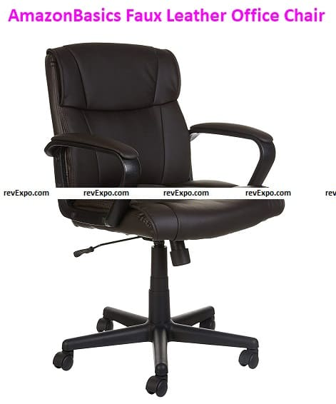 AmazonBasics Faux Leather Mid-Back Office Chair