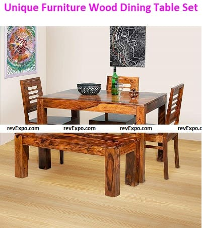 Unique Furniture Wooden Solid Sheesham Wood Dining Table 4 Seater
