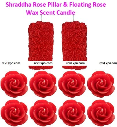 Shraddha Creation Rose Pillar & Floating Rose Wax Scent Candle