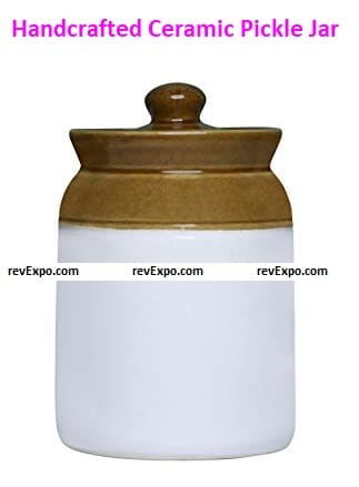 Handcrafted Ceramic Pickle Jar with Lid