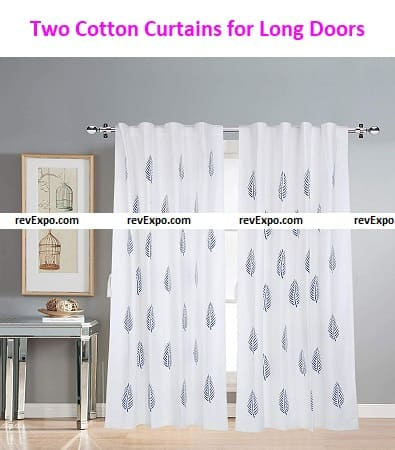 Two Cotton Curtains for Long Doors