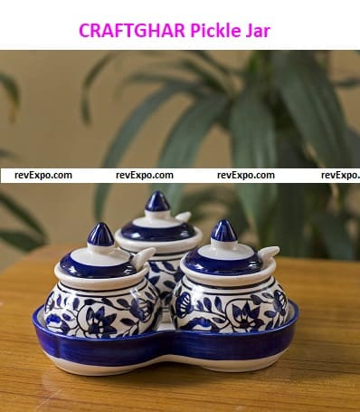 CRAFTGHAR (Ceramic) Pickle Jar with Spoons and Tray