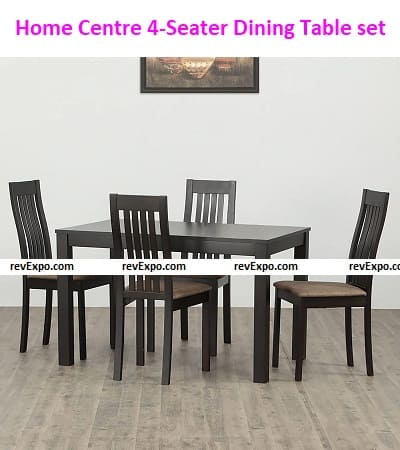 Home Centre Diana Beechwood Veneer Finish 4-Seater Dining Table with 4 Chairs