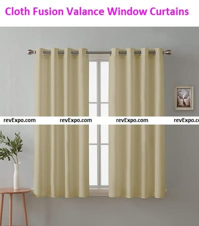 Cloth Fusion Valance Solid Blackout Window Curtain