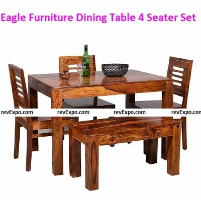 Eagle Furniture Wooden Solid Sheesham Wood Dining Table 4 Seater Dining Table Set