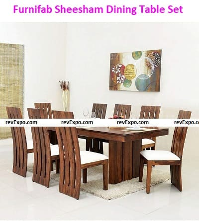Furnifab Sheesham Wood Dining Table Set with 8 Chair for Living Room