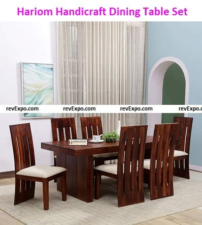 Hariom Handicraft Kendal Wood Furniture Sheesham Dining Table with 6 Chairs