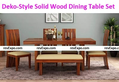 Deko-Style Solid Wood Dining Table 6 Seater Set