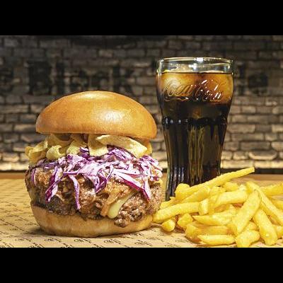 Crunchy Burger + Patatas fritas (M)