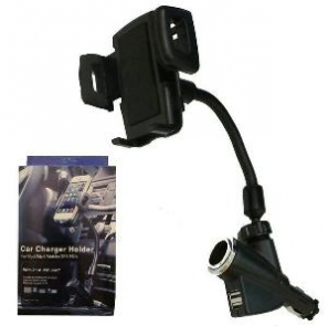 Car Charger Holder Universal With Dual USB Port 2.1A Lighter Port