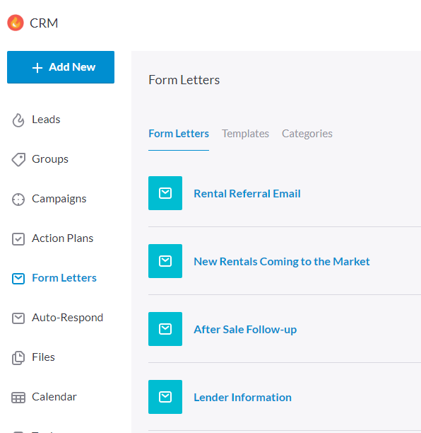 Form letters in REW CRM