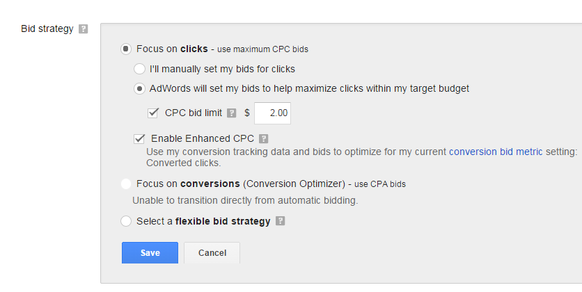 Setting AdWords campaign bid limits