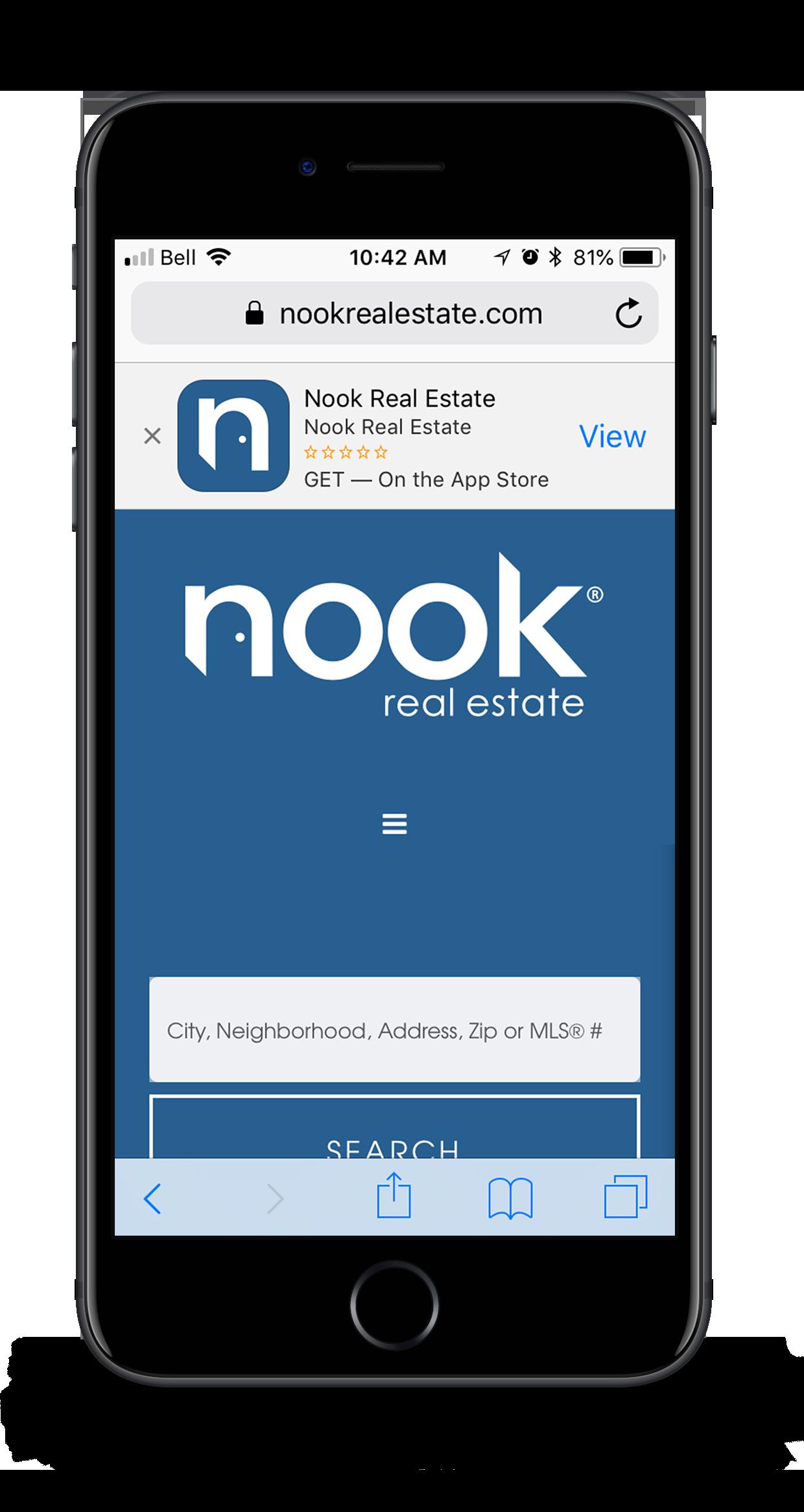 Nook app prompt on Safari