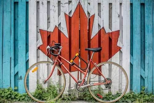 bike on canada flag wall