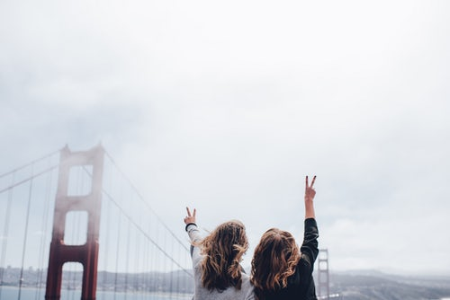 sisters at golden gate bridge