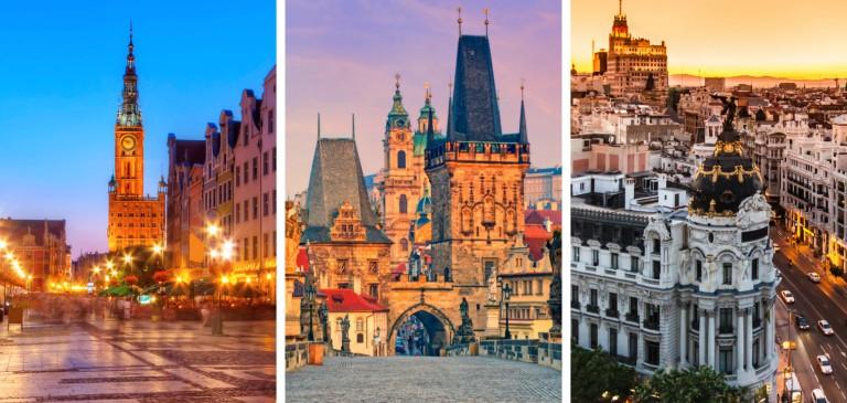 Våre billigste reiser til 3 hotte storbyer; Gdansk, Praha og Madrid