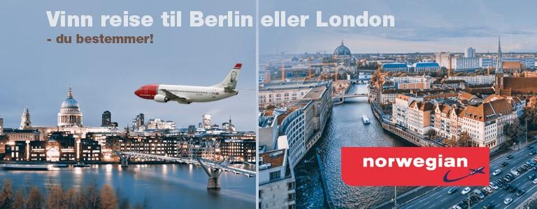 Vinn reise for 2 med Norwegian til Berlin eller London