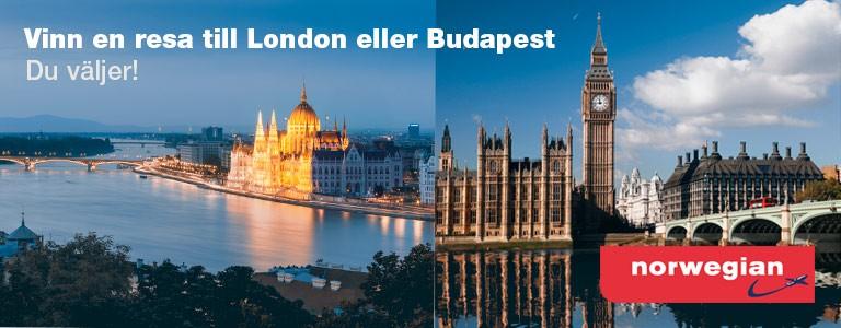 Vinn en resa för två personer med Norwegian till London eller Budapest