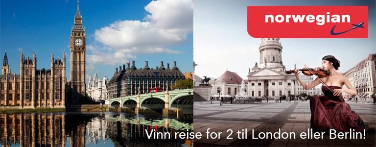 Vinn reise for 2 til London eller Berlin
