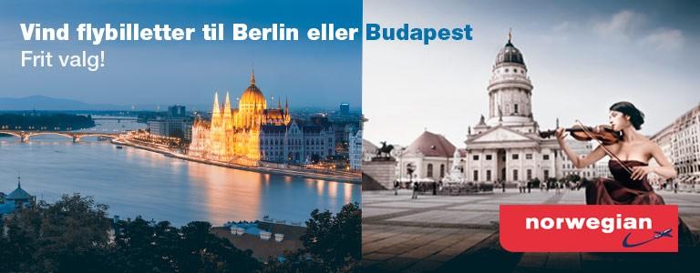 Vind en rejse for 2 til Berlin eller Budapest