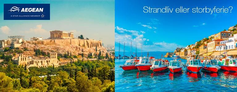 Opptil 30% rabatt med Aegean til Kreta, Rhodos, Larnaca og Athen