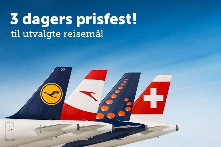 3 dagers salg til utvalgte reisemål i Europa og resten av verden