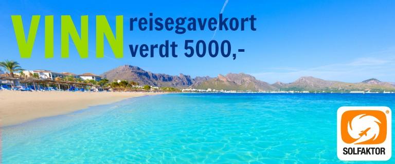 Vinn reisegavekort med Solfaktor til storby eller syden til verdi 5000,-