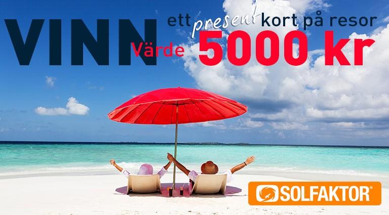 Vinn ett presentkort på resor till ett värde av 5000 kr