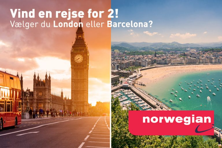 Vind en rejse for 2 til London eller Barcelona!