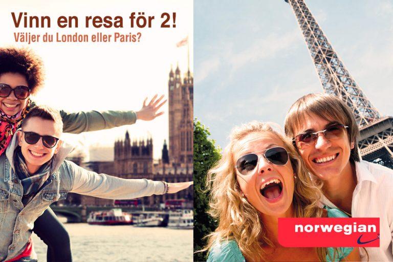 Vinn en resa för 2 till London eller Paris!