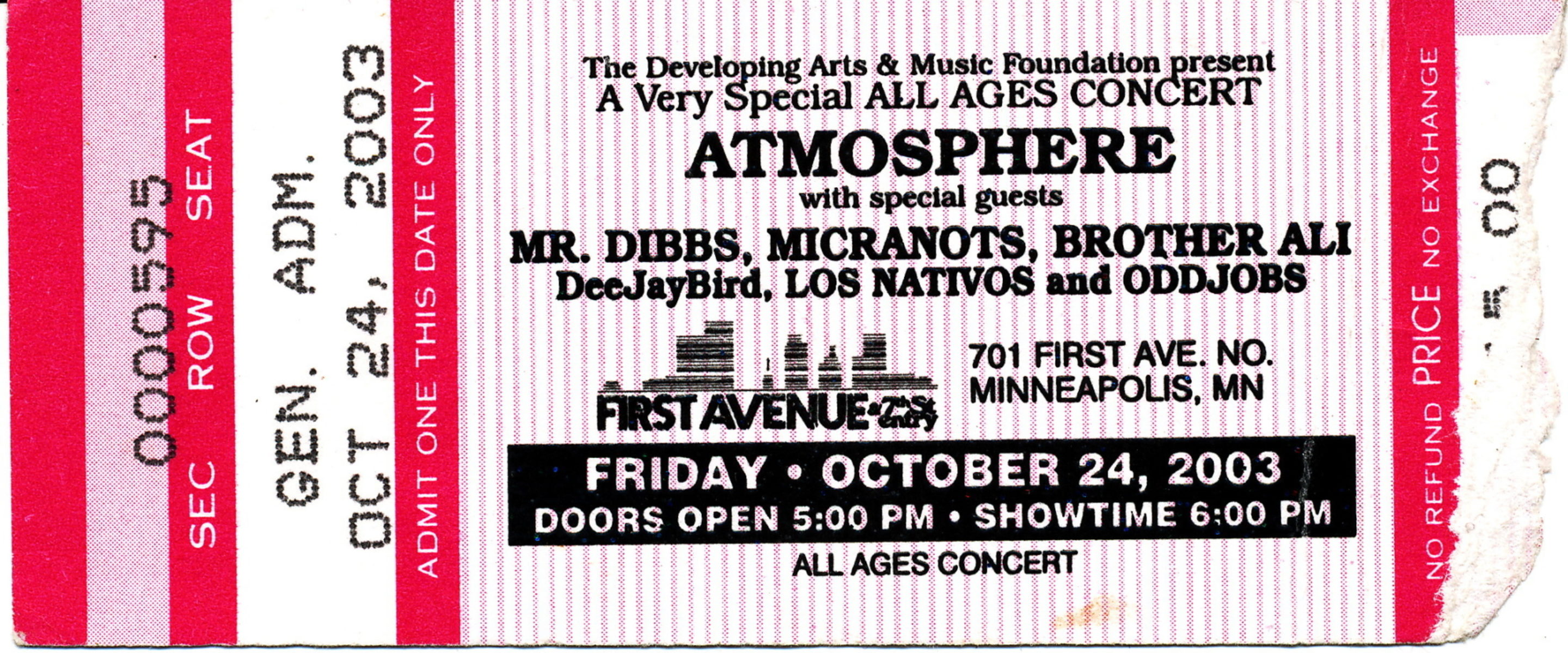 Atmosphere Mr  Dibbs Micranots Brother Ali Jbird Los Nativos Odd Jobs First Avenue October 24 2