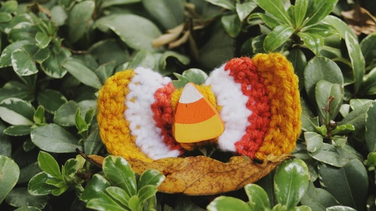 The Candy Corn Crochet Barrette.