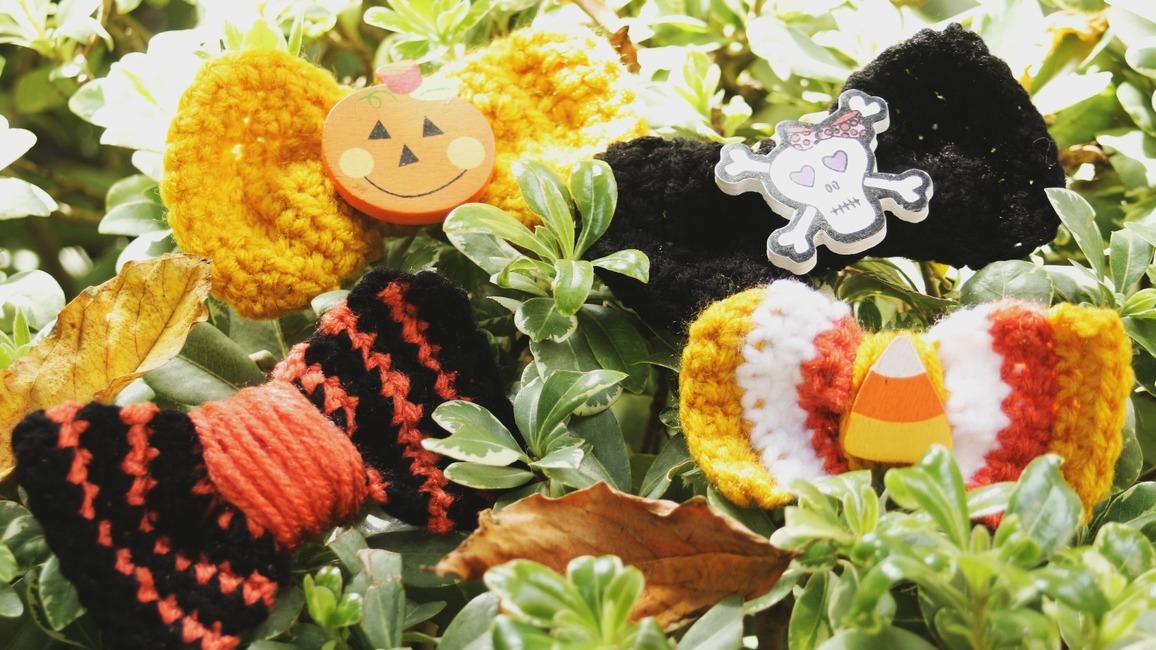 The Candy Corn Crochet Barrette.
