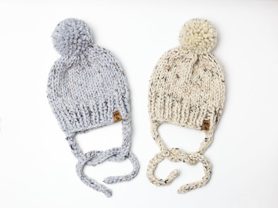Side Ties Solid Winter Pompom Hat