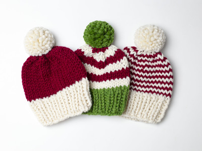 Christmas Hat Collection Chunky Pompom