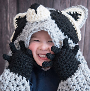 Hooded Woodland Raccoon Blanket