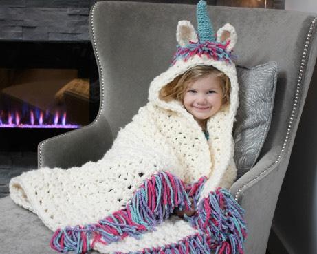 Hooded Unicorn Blanket and Cowl